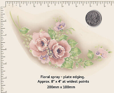 1 x Waterslide ceramic decal Decoupage Semi-circular Floral spray Plate edge P4