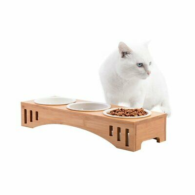 Elevated Pet Bowls Bamboo Stand Holder Ceramic Food Feeding Bowl Dog Cat Feeder