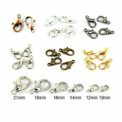 60-Piece Mix Lobster Claw Clasps for Jewelry Making 12mm Silver Gold Black E9W9