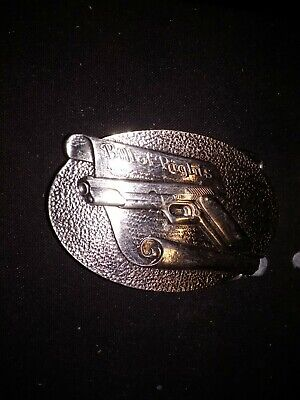 1979 silver mens belt buckle with gun top Bill of Rights right to bear arms