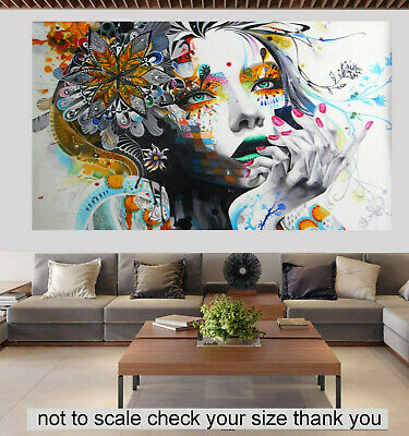 Art  Painting Street Canvas Urban Princess Girl Face framed hand painted