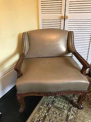 Louis Xv Style Vintage French Carved Oak & Leather Armchair