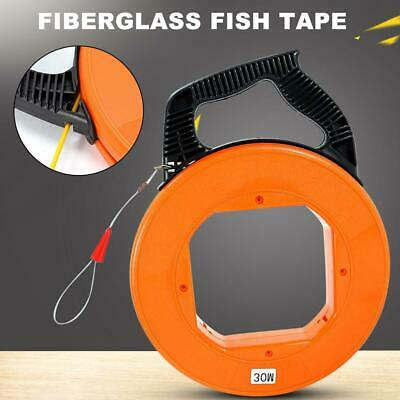 Fiber Glass Fish Tape Reel Puller 30m(100ft) Fiberglass Electrical Wire Cable