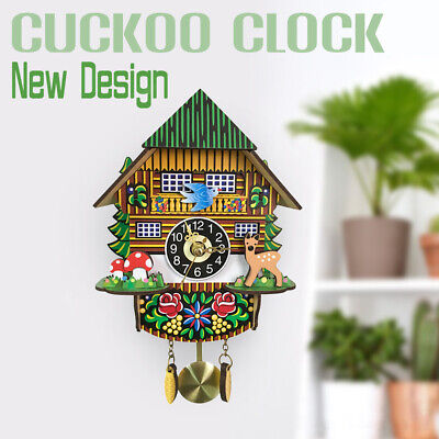 Retro Wooden Cuckoo Clocks Handcraft Carving Swing Timer Clocks Home Wall Decor