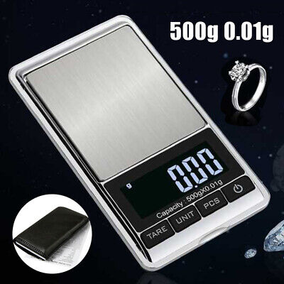 500g 0.01 Accurate Digital Pocket Scales Jewellery Electronic Milligram Micro