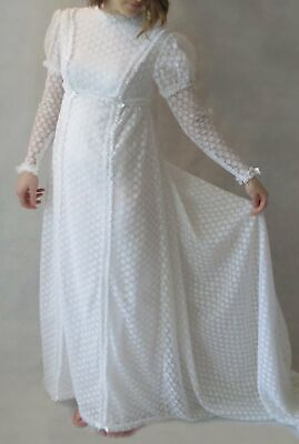 Vintage Wedding Dress With Juliet Sleeves - 1960s, 1970s - Bust 78 cm