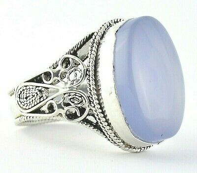 Yemeni Aqeeq Akik Aqiq Blue Agate Stone, Set on Yemen Sterling Silver Men Ring