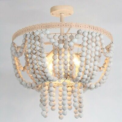 Vintage 4-Light White Round Ceiling Lights Wood Beads Kid's Room Chandelier 110V
