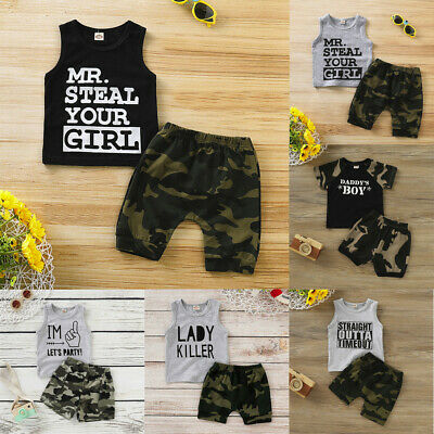 Toddler Kids Boys Clothes Vest T-shirt Tops+Camouflage Shorts Pants Outfits Sets