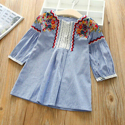 Toddler Kids Baby Girls Embroidery Striped Party Pageant Princess Casual Dresses