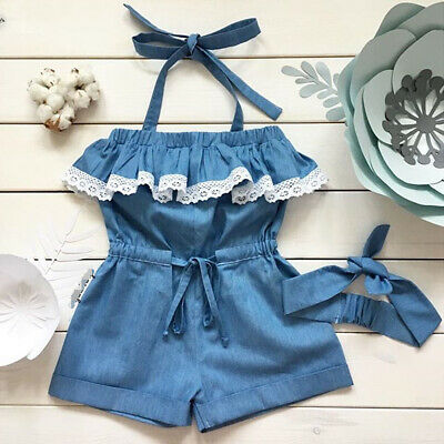 AU Toddler Kid Baby Girl Lace Ruffle Romper Bodysuit Jumpsuit Outfit Clothes Set