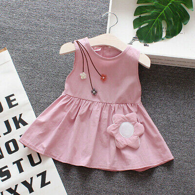 Toddler Kids Baby Girls Sleeveless Casual Flower Princess Dress Sundress Clothes