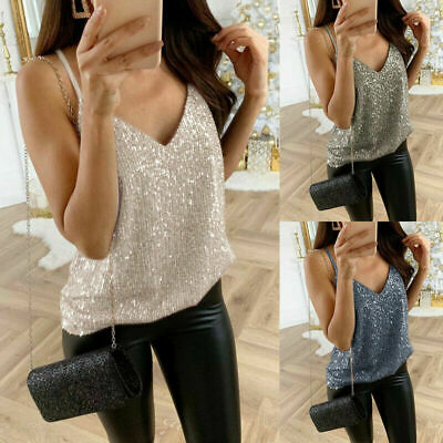 UK Women's Ladies Sequined Bling Shiny Tank Tops Sleeveless T Shirts Blouse Vest