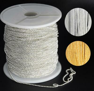 5 Yard/Roll Gold Silver 1.5mm Round Ball Bead Chain DIY Necklace Bracelet Making