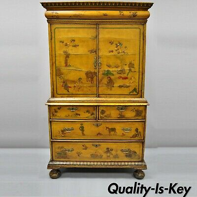 18th C. William and Mary Yellow Lacquer Polychrome Japanned Parcel Gilt Cabinet