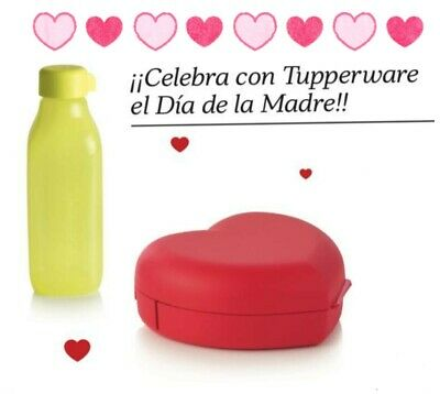 Botella 500 ML Y Caja Corazon Tupperware