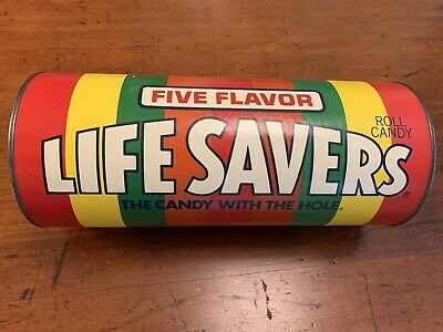 "Vintage LARGE 12"" Life Savers Candy Advertising Display Coin Bank With Metal Lid"