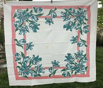 """VTG Tablecloth Blue Tulip Pink Cotton 48""""x52"""" Luncheon Beautiful"""