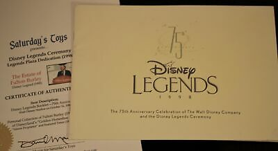 Walt Disney Legends Award 75th Anniv Fulton Burley Estate w/COA Golden Horseshoe