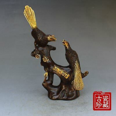 Decoration Old Chinese Brass gilt hand-carved FENGSHUI magpie statue