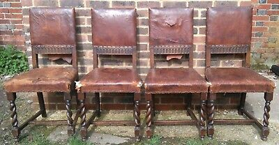 4 antique dining chairs oak leather