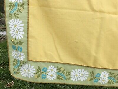 "VTG Tablecloth Retro Yellow Green Daisy Floral Cotton Blend 50""x64"" MCM Pretty"