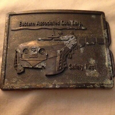Old 70s Eastern Associated Coal Brass Belt Buckle Safety First Mining Train Cars