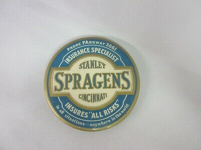Vintage Advertising  Mirror Paper Weight Spragens Insurance Co   S-2025