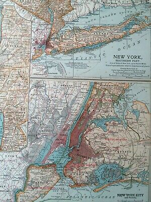 1903 New York (Southern and City) Original Antique Map United States NYC