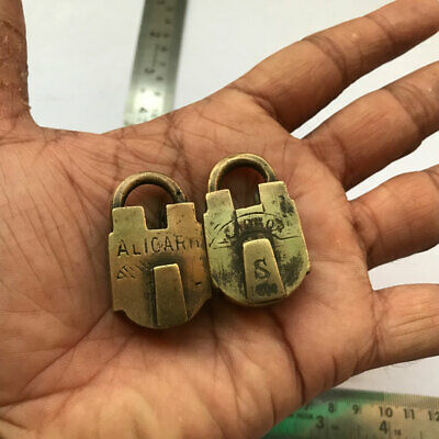 Old antique solid brass and copper padlock lock with key real Miniature PAIR