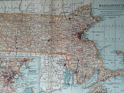 1903 Massachusetts Original Antique Map United States Boston Vintage