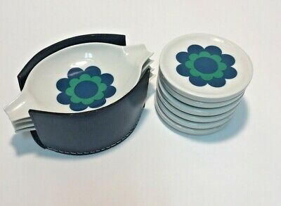 Vintage mid century mod retro ceramic marked 6 coasters 4 trays with holder