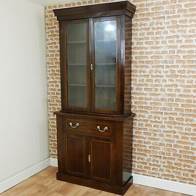 Antique Victorian Mahogany Bookcase Cupboard Display Cabinet Hall Inlaid