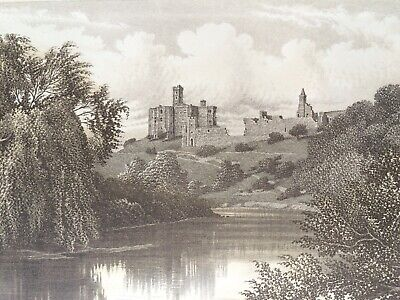 1895 Warkworth Castle Original Antique Matted Steel Engraving Northumberland