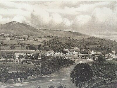 1895 Llangollen & Castle Original Antique Matted Steel Engraving Wales