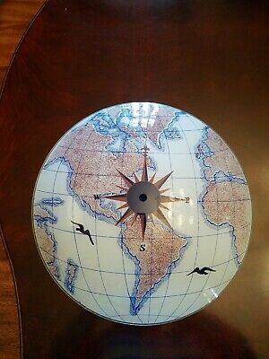 Vintage Nautical World Map Compass Glass Ceiling Light Fixture/Shade 14.5""