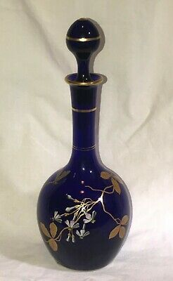French Baccarat Cobalt Blue and Enameled Decanter. Victorian. Paper Label.