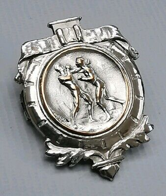 Vtg 1925 Art Deco Silver Plate East Anglia Feather Weight Boxing Badge Medal