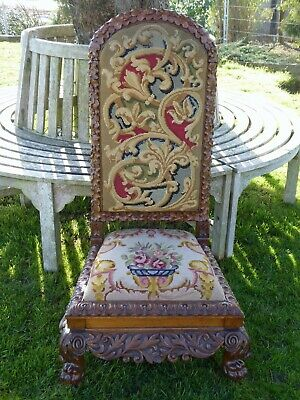 Superb Oak Heavily Carved Needlepoint Chair 1830  Free Shipping To England