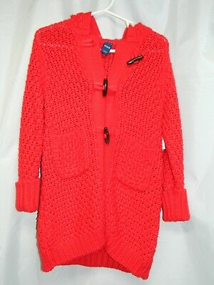Girls Long Button Down Cardigan Sweater • Red • Old Navy • 2T • NEW