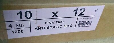 10 x 12 - Pink Open Ended Anti-Static Bag Poly Bags -  4mil - 25 bags