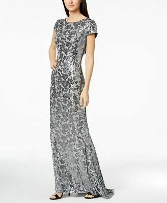 274e6208 CALVIN KLEIN $209 Womens New 1146 Silver Draped Back Sequined Gown 4 B+B