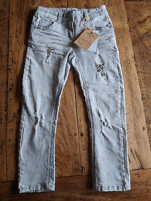 BNWT Next 6 yrs Grey Distressed Wash Jewel Embellishment Ava Relaxed Fit Jeans