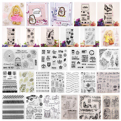 Various Silicone Clear Stamp Transparent Rubber Stamps DIY Scrapbooking Craft US