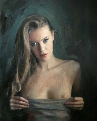 """NEW WILLIAM OXER ORIGINAL """"Night Fury"""" Pretty nude cute Woman Girl PAINTING"""