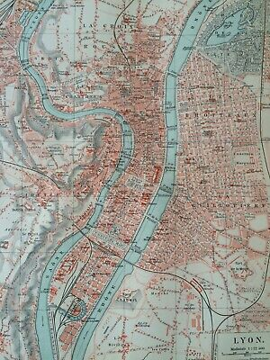 1896 Lyon Original Antique Map City Plan France Mounted & Matted