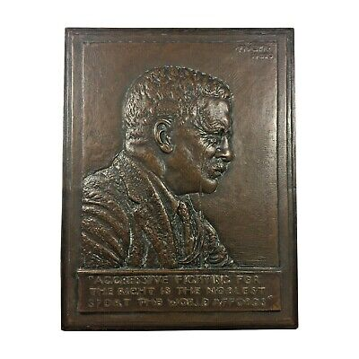President Theodore Roosevelt Bas-Relief Bronze Plaque 1920 by James Earle Fraser