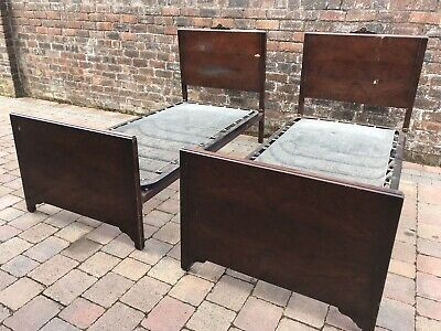 Matching Pair Of Vintage Edwardian Single Wooden Bed Frames Vono Carved Top 6'2""