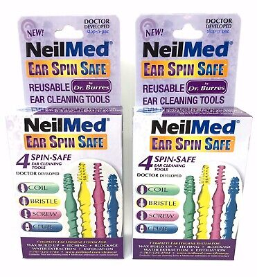 NeilMed Ear Spin Safe 4 Spin-Safe Reusable Ear Cleaning Tools 2 Boxes