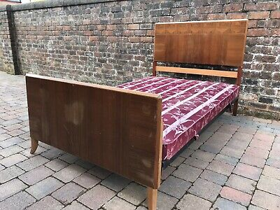 Art Deco 1930s Wylie & Lochhead Small Double Wooden Bed Frame And Base 6.2x4""